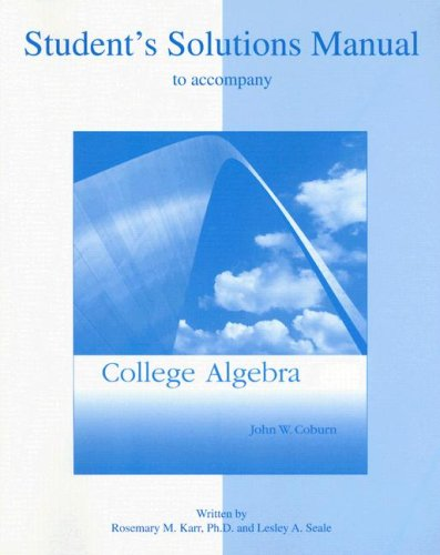 9780072917611: Student Solutions Manual to accompany College Algebra