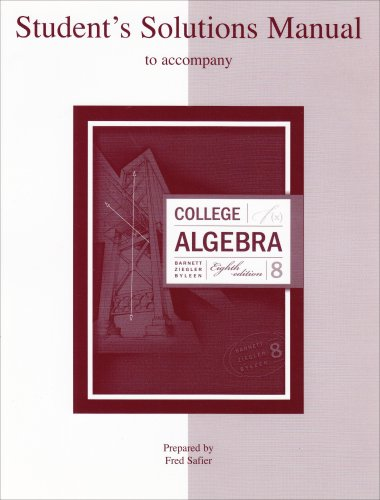 9780072917673: Student Solutions Manual College Algebra