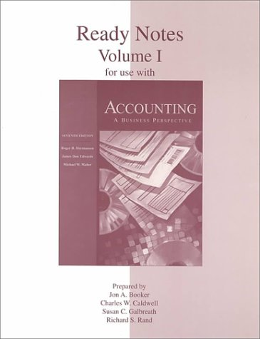 Ready Notes Volume 1 To Accompany Accounting: Roger H. Hermanson,