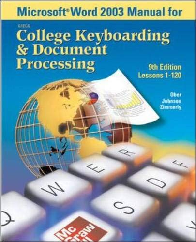 9780072930542: Microsoft (R) Word 2003 Manual for College Keyboarding & Document Processing (GDP)