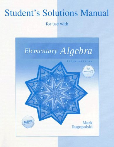 9780072934670: Student's Solutions Manual for use with Elementary Algebra