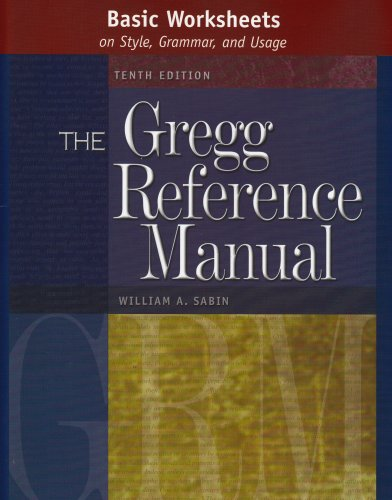 9780072936544: Basic Worksheets on Style, Grammar, and Usage to accompany the Gregg Reference Manual, Tenth Edition