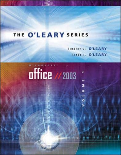 9780072939224: O'Leary Series: Microsoft Office 2003 Volume I w/ Student Data File CD (The O'Leary Series)