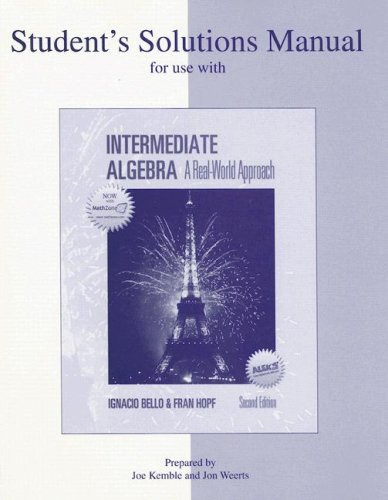 9780072945584: Student's Solutions Manual for use with Intermediate Algebra:  A Real World Approach