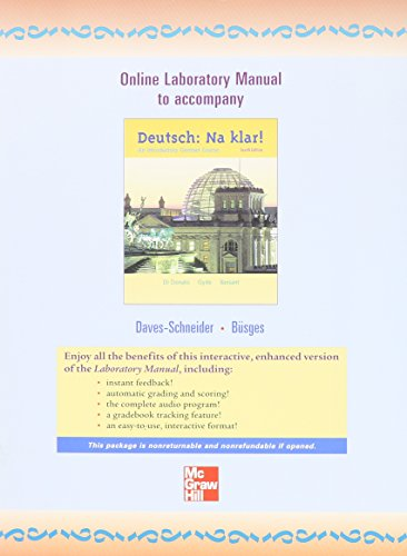 9780072948059: Online Laboratory Manual to accompany Deutsch: Na klar! An Introductory German Course