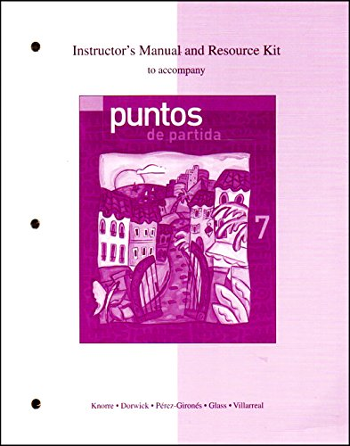 9780072951264: Instructor's Manual and Resource Kit to Accompany Puntos De Partida: An Invitation to Spanish
