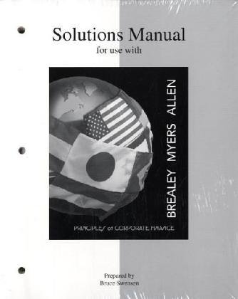 9780072957273: Solutions Manual to Accompany Principles of Corporate Finance (McGraw-Hill Series in Finance)