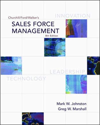 9780072961836: Churchill/Ford/Walker's Sales Force Management (Mcgraw-Hill/Irwin Series in Marketing)
