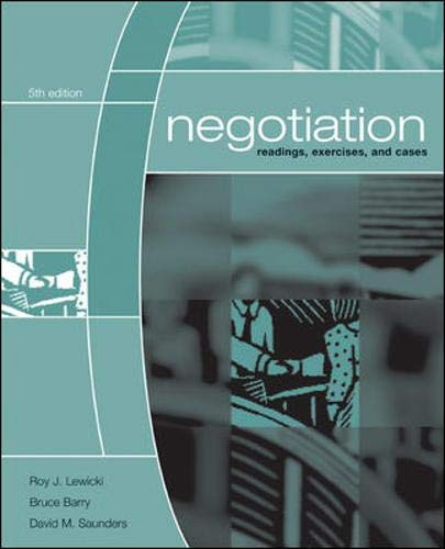 9780072973105: Negotiation: Readings, Exercises, and Cases