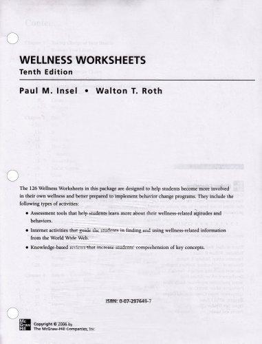 9780072976496: Wellness Worksheets