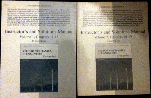 Vector Mechanics for Engineers: Dynamics (Instructor's and: Beer, Ferdinand; E.
