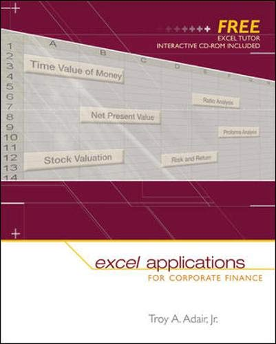 9780072980721: Excel Applications for Corporate Finance