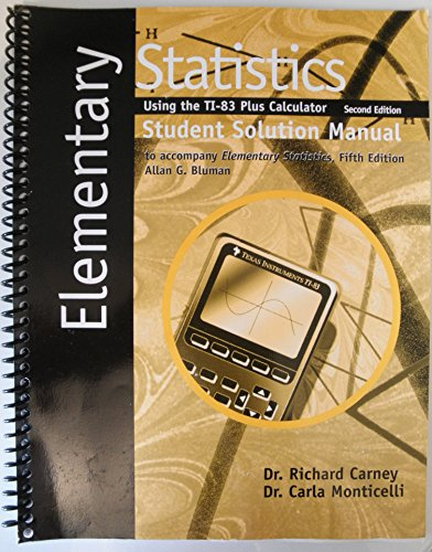 Elementary Statistics Student Solutions Manual (Using the: n/a