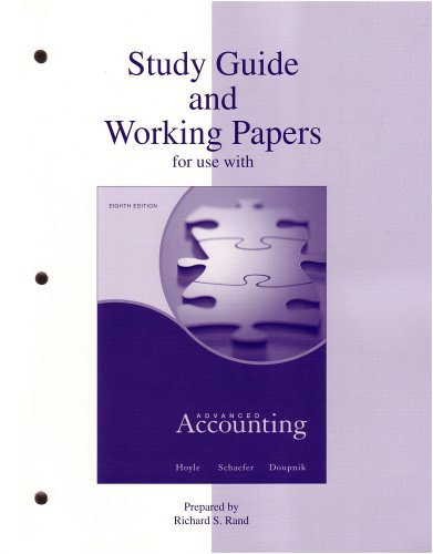 Study Guide & Working Papers to accompany: Joe Ben Hoyle,