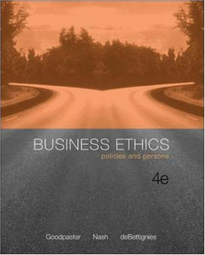 9780072996906: Business Ethics: Policies and Persons