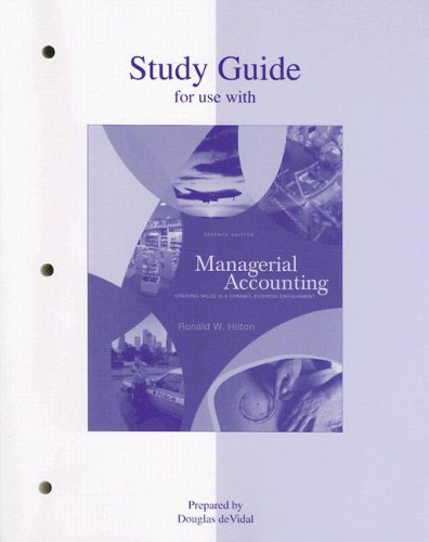 9780073022925: Study Guide to accompany Managerial Accounting