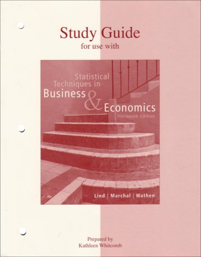9780073030333: Study Guide to Accompany Statistical Techniques in Business & Economics 13e