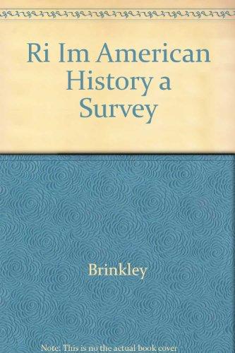9780073033938: Ri Im American History a Survey