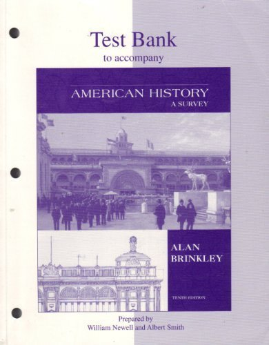 9780073033945: Test Bank to accompany American History A Survey, 10th Edition