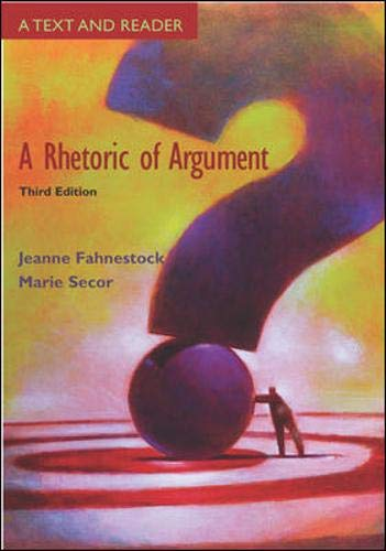 9780073036168: A Rhetoric of Argument: Text and Reader