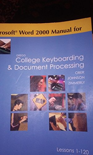 9780073045580: Microsoft Word 2000 Manual for Gregg College Keyboarding & Document Processing