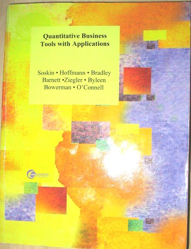 9780073100456: Quantitative Business Tools with Applications