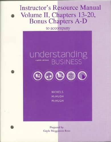 9780073106113: Instructors Resource Manual, Vol. 1: To Accompany Understanding Business