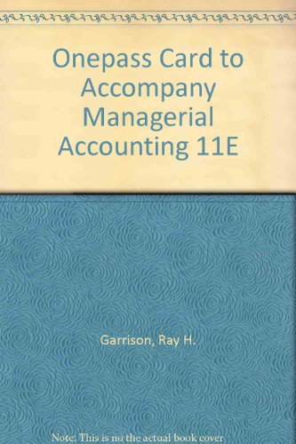 9780073136653: OnePass card to accompany Managerial Accounting 11e