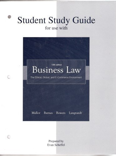 9780073198354: Student Study Guide t/a Business Law: The Ethical, Global, and E-Commerce Environment