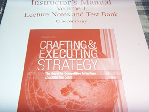 Instructors Manual Vol 2 Case Teaching Notes: thompson-strickland-gamble
