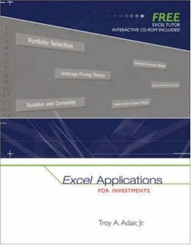 9780073205571: Excel Applications for Investments with Excel Tutor CD ROM