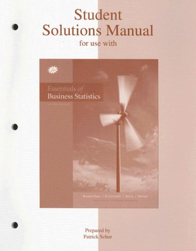 9780073208565: Student Solutions Manual to accompany Essentials of Business Statistics