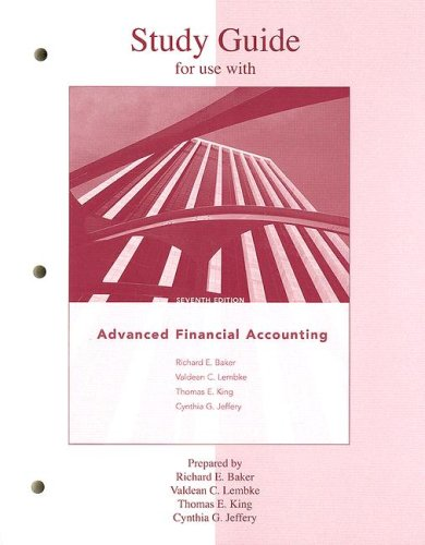 9780073210889: Study Guide to accompany Advanced Financial Accounting