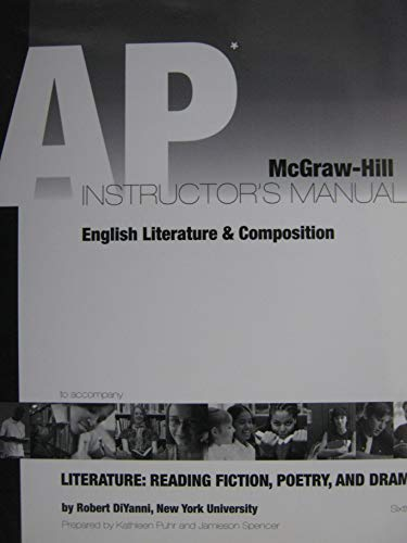 9780073256917: Advanced Placement English Literature & Composition: Literature, Reading, Fiction, Poetry and Drama