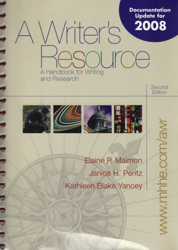 9780073259383: Examination Copy a Writer's Resource a Handbook for Writing and Research Second Edition