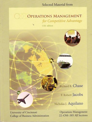 9780073260433: Selected Material From Operations Management (for Competitive Management, University of Cincinnati)