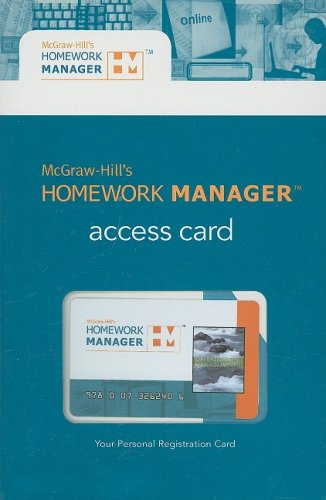 Homework Manager to accompany Operations Management (card) (McGraw-Hill's Homework Manager) (9780073262406) by William Stevenson