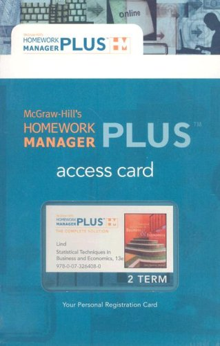 9780073264080: McGraw-Hill's Homework Manager Plus: Statistical Techniques in Business and Economics