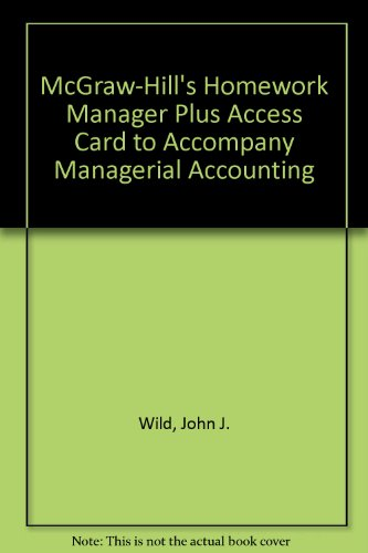 9780073265766: McGraw-Hill's Homework Manager Plus Access Card to accompany Managerial Accounting