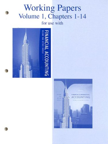 9780073268170: Working Papers, Volume 1, Chapters 1-14 to accompany Financial Accounting 13e, and Financial & Managerial Accounting 14e