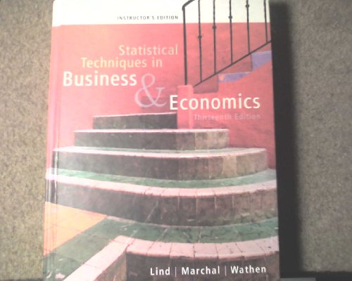 Instructor's Edition for Statistical Techniques in Business: Marchal, Wathen Lind