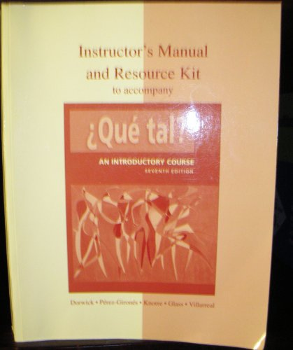 9780073285351: Instructor?s Manual and Resource Kit to Accompany Que Tal? An Introductory Course (Seventh Ed.)