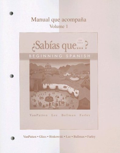 9780073289281: Workbook/Lab Manual Volume 1 to accompany ¿Sabías que?