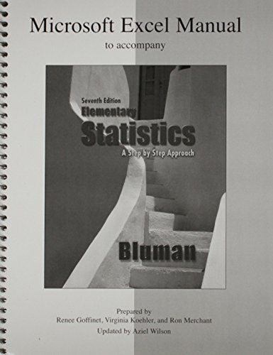 9780073331225: Microsoft Excel Manual Elementary Statistics: A Step-By-Step Approach