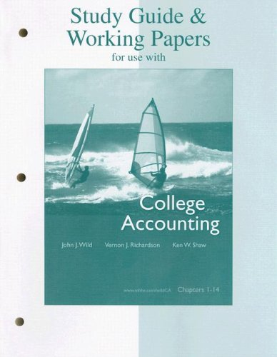 9780073336855: Study Guide & Working Papers Ch 1-14 to accompany College Accounting