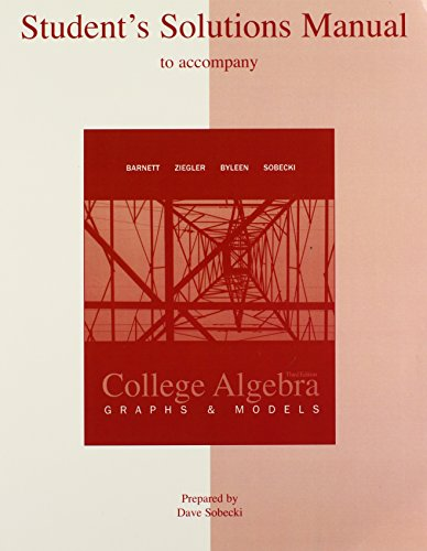 9780073341859: Student Solutions Manual for use with College Algebra: Graphs and Models