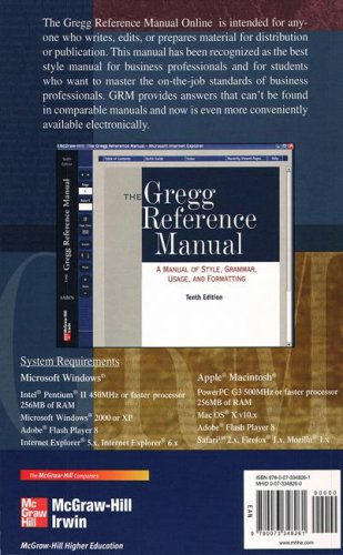 9780073348261: The Gregg Reference Manual Online Version Access Card
