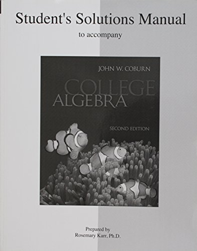 9780073349077: Student Solutions Manual for College Algebra