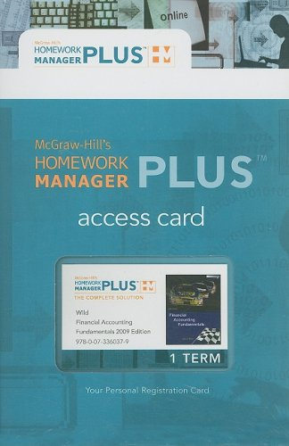 9780073360379: Homework Manager Plus Passcode Card to accompany Financial Acct. Fund. (McGraw-Hill's Homework Manager Plus)