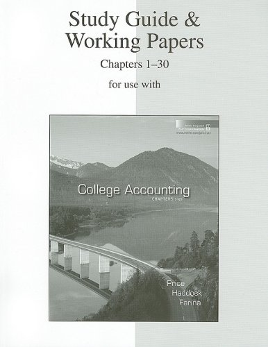 9780073365695: Study Guide & Working Papers Ch 1-30 to accompany College Accounting